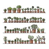 Shelves with cactus in pots, sketch for your royalty free illustration