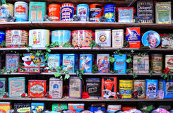 Shelves with candy boxes in candy shop Royalty Free Stock Photography