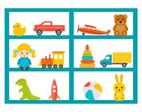 Shelves with children toys set, vector illustration. vector illustration