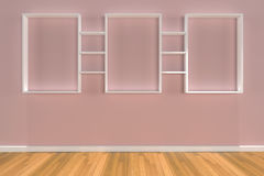 Shelves on color wall Royalty Free Stock Photography