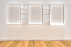 Shelves on color wall with wood floor Stock Images
