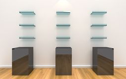 Shelves on color wall with wood floor Stock Photos