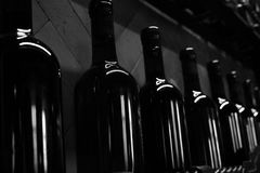 Cellar shelves with dark corked wine bottles against wooden wall black and white monochrome. Shelves with dark corked full wine bottles and forged items against Stock Photos