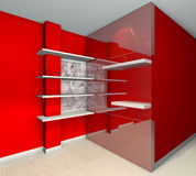 Shelves designs red. Red built-in shelves designs, corner of the room Royalty Free Stock Photos
