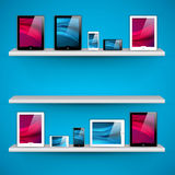 Shelves with devices - vector Royalty Free Stock Photography