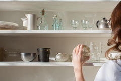 Shelves with different crockery Royalty Free Stock Image