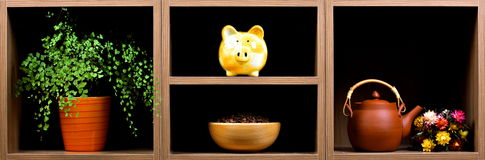 Shelves with different objects Royalty Free Stock Photography