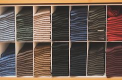 Shelves with different socks. Royalty Free Stock Image