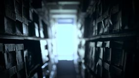 Shelves of documents stored in archive
