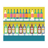 Shelves with Drinks in Grocery Store Vector. Shelves with drinks in grocery store. Vector in flat style design. Showcase with alcohol and beverages in Royalty Free Stock Images