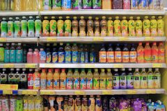 Shelves with drinks in supermarket Royalty Free Stock Photo