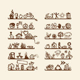 Shelves with ecology icons for yuor design Royalty Free Stock Image