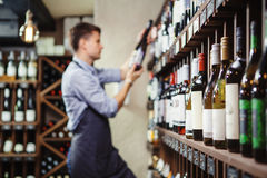 Shelves with elite wine and defocused thoughtful young sommelier Royalty Free Stock Photos