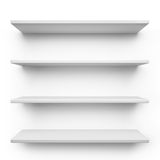 Shelves. Empty shelves isolated on clean white background Royalty Free Stock Images