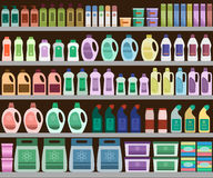 Shelves filled with cleaning products Stock Image