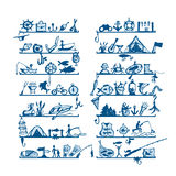 Shelves with fishing icons, sketch for your design Royalty Free Stock Photo