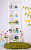 Shelves with flowers Stock Photo