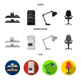 Shelves, folders and notebooks with business records, a coffee machine with cups, an armchair with a backrest on wheels. A desk lamp. Office Furniture set vector illustration