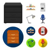 Shelves, folders and notebooks with business records, a coffee machine with cups, an armchair with a backrest on wheels. A desk lamp. Office Furniture set stock illustration