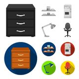 Shelves, folders and notebooks with business records, a coffee machine with cups, an armchair with a backrest on wheels. A desk lamp. Office Furniture set royalty free illustration