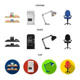Shelves, folders and notebooks with business records, a coffee machine with cups, an armchair with a backrest on wheels. A desk lamp. Office Furniture set Royalty Free Stock Photography