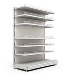 Shelves for food in the supermarket. Isolated on a white. 3d illustration Royalty Free Stock Image