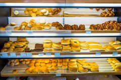 Shelves with bread in the bakery. Shelves with fresh bread in the bakery Stock Image