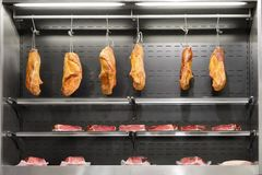 Shelves with fresh meat Stock Photos
