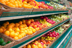 Shelves with fruits of the store Royalty Free Stock Photo