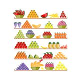Shelves with fruits for your design Stock Image