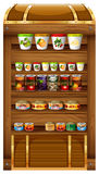 Shelves full of canned food. Illustration royalty free illustration