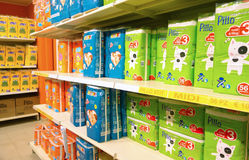 Shelves Full of Diapers. In an Italian store selling everything for baby care - September 2013 Royalty Free Stock Photography
