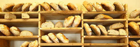 Shelves full of italian bread Stock Photo
