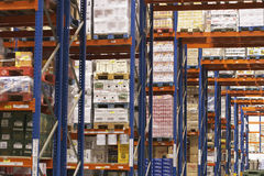 Shelves Full Of Merchandise In Warehouse. View of shelves in warehouse full of merchandise Royalty Free Stock Photography