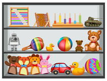 Shelves fullo f toys. Illustration Royalty Free Stock Images
