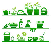 Shelves with gardening stuff. This is file of EPS8 format Stock Images