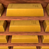 Shelves with gold Stock Photo