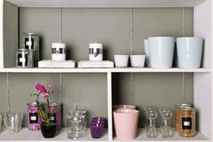 Shelves with goods Stock Photos