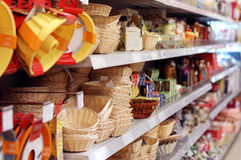 Shelves with goods in store Stock Images