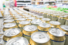 Shelves with goods in supermarket. Aisles of shelves with goods in supermarket royalty free stock photo