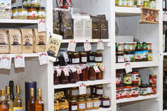 Shelves with home made and imported products. Shop detail with home made and imported products royalty free stock image