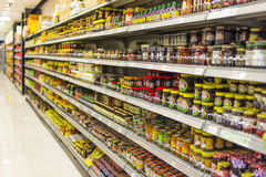 Shelves of Jam royalty free stock images