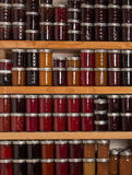 Shelves of jams and jellies Royalty Free Stock Photography