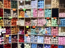 Shelves of knitting wool royalty free stock images