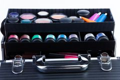Shelves in makeup case Stock Photos