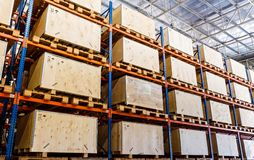 Shelves manufacturing storage in a warehouse.  Royalty Free Stock Images