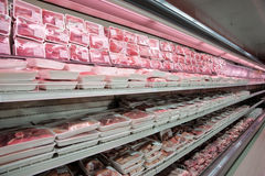 Shelves with meat Royalty Free Stock Photography
