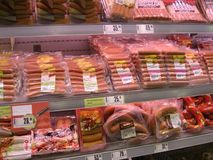 Shelves of meat Stock Photos