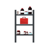 shelves with medical supplies Royalty Free Stock Images