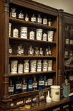 Shelves with medicines in old pharmacy Royalty Free Stock Photos